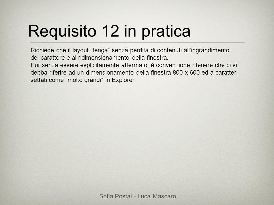 Sofia Postai - Luca Mascaro Sofia Postai (sofia@vocabola.com)sofia@vocabola.com Requisito 12 in pratica Richiede che il layout tenga senza perdita di
