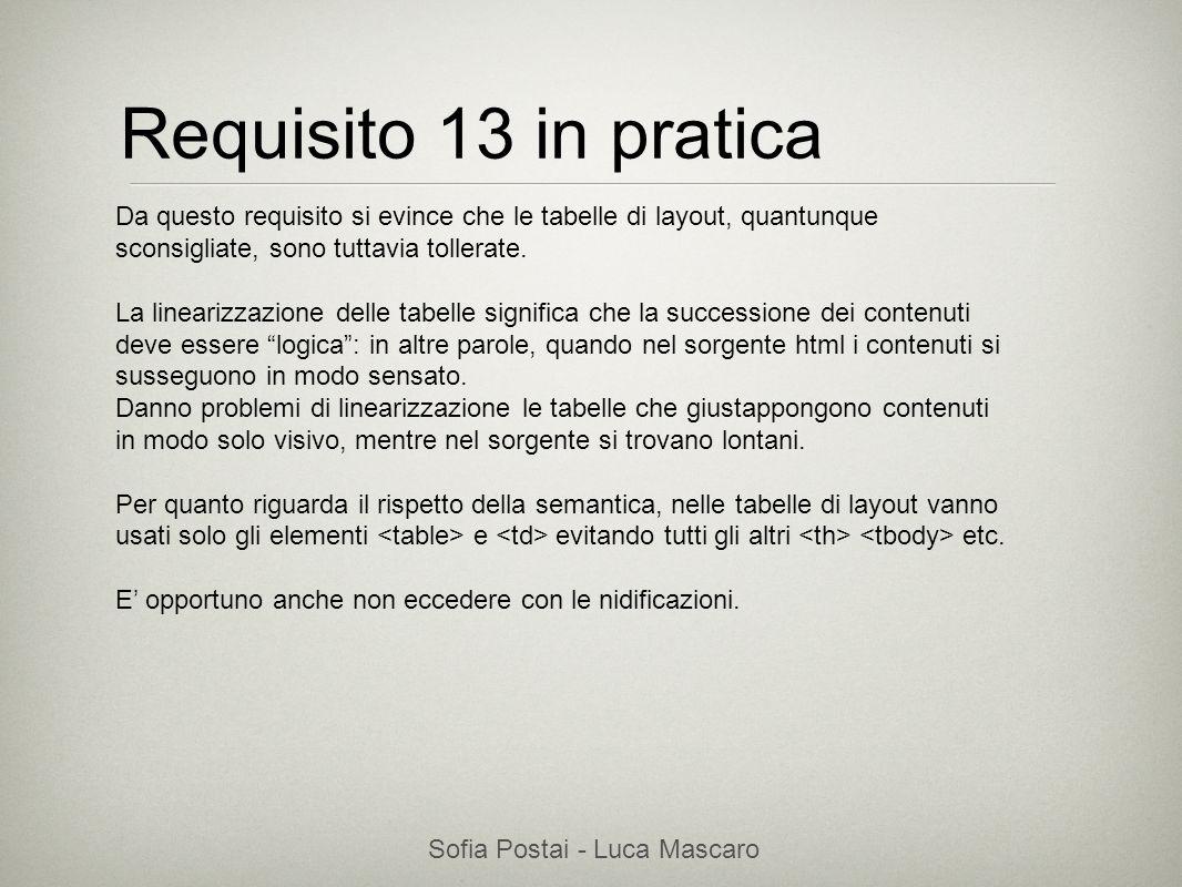 Sofia Postai - Luca Mascaro Sofia Postai (sofia@vocabola.com)sofia@vocabola.com Requisito 13 in pratica Da questo requisito si evince che le tabelle d
