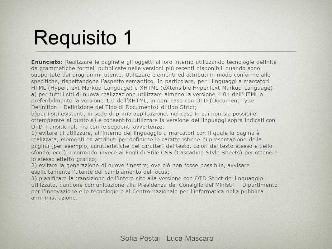 Sofia Postai - Luca Mascaro Sofia Postai (sofia@vocabola.com)sofia@vocabola.com Requisito 1 Enunciato: Realizzare le pagine e gli oggetti al loro inte