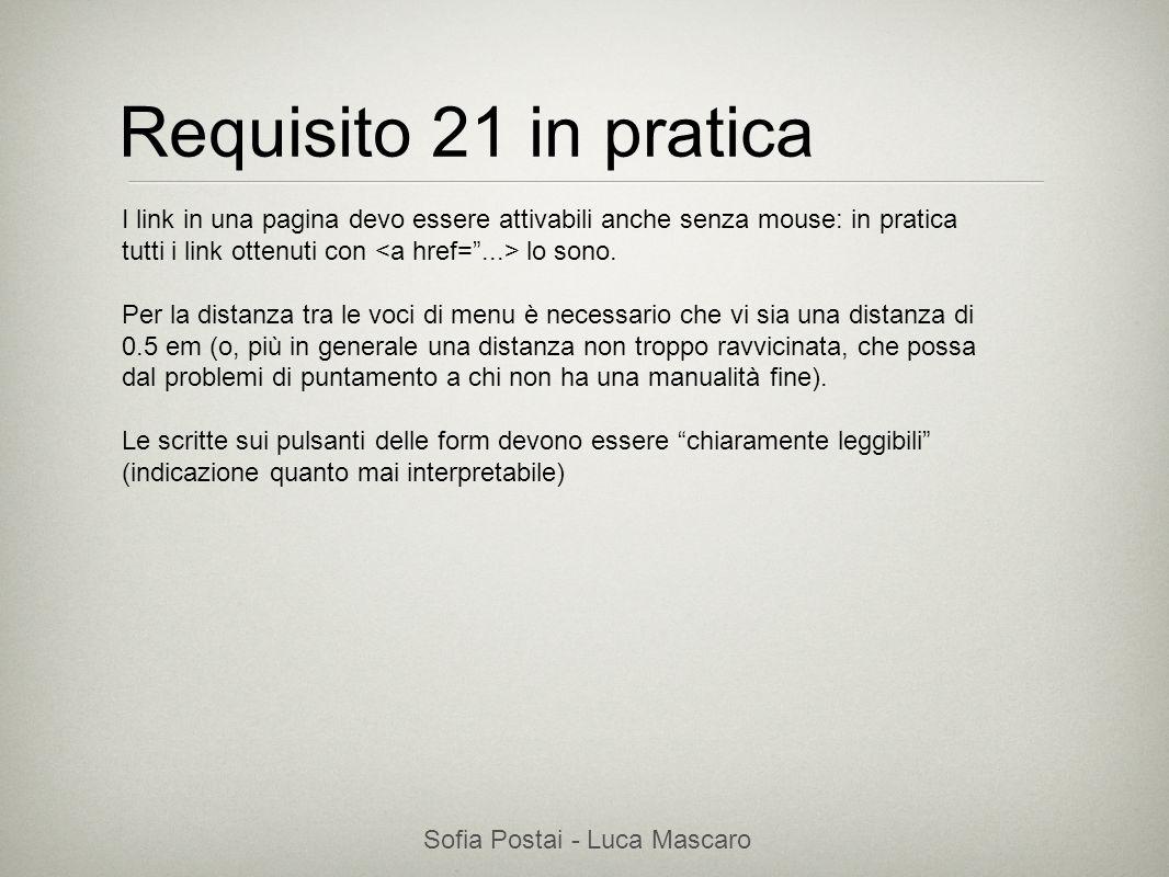 Sofia Postai - Luca Mascaro Sofia Postai (sofia@vocabola.com)sofia@vocabola.com Requisito 21 in pratica I link in una pagina devo essere attivabili an