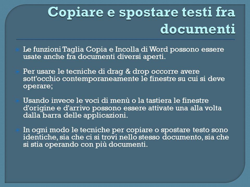 Le funzioni Taglia Copia e Incolla di Word possono essere usate anche fra documenti diversi aperti. Per usare le tecniche di drag & drop occorre avere