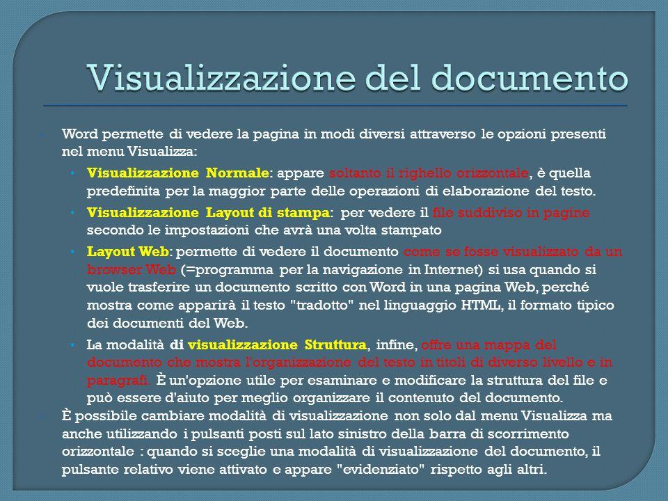 Word permette di vedere la pagina in modi diversi attraverso le opzioni presenti nel menu Visualizza: Visualizzazione Normale: appare soltanto il righ