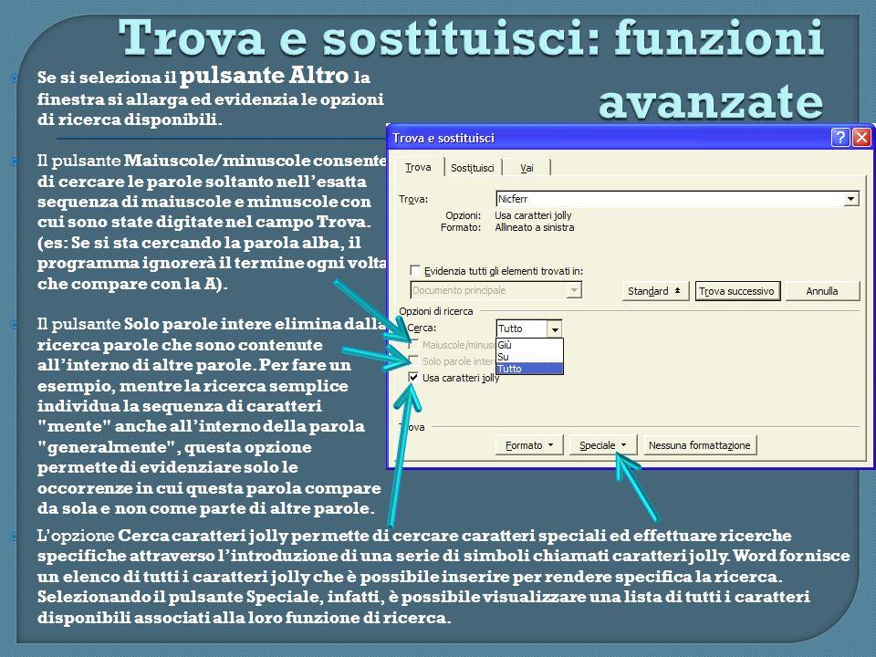 Se si seleziona il pulsante Altro la finestra si allarga ed evidenzia le opzioni di ricerca disponibili. Il pulsante Maiuscole/minuscole consente di c