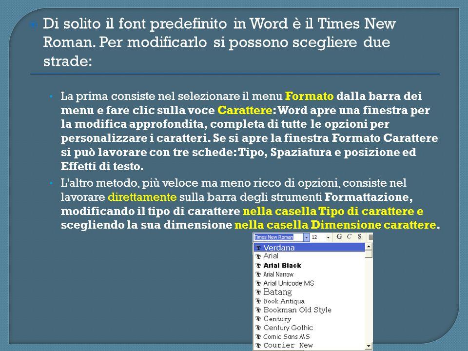 Di solito il font predefinito in Word è il Times New Roman. Per modificarlo si possono scegliere due strade: La prima consiste nel selezionare il menu