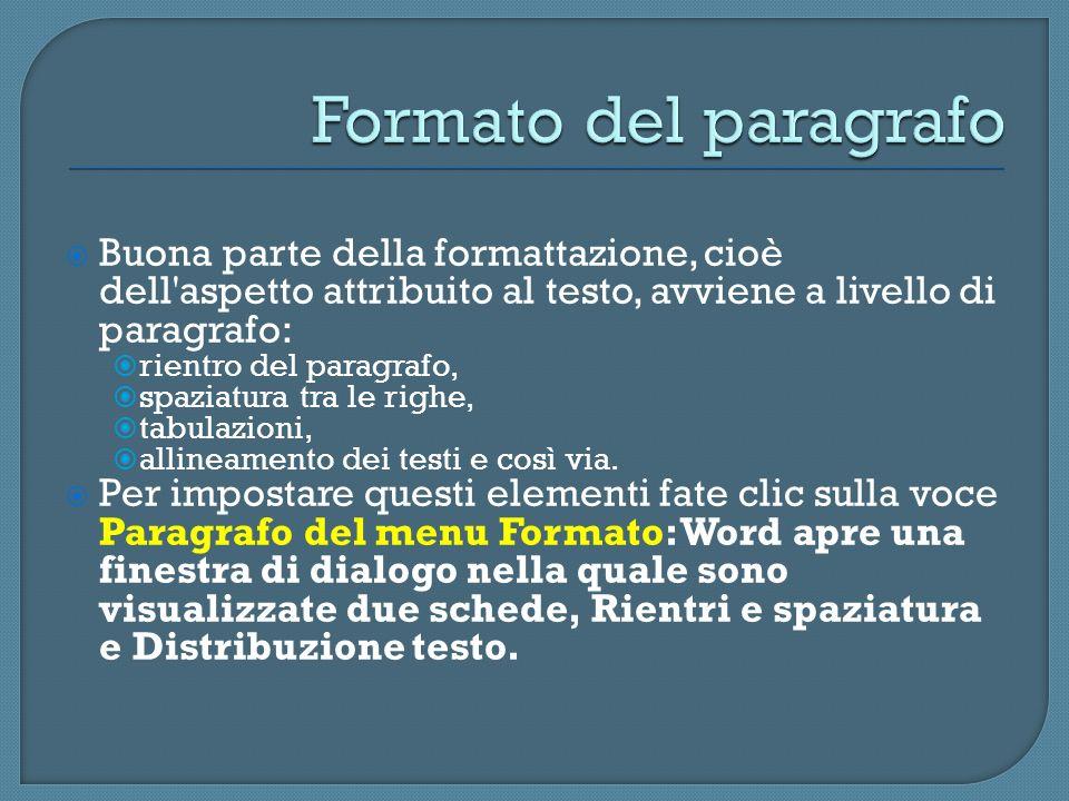 Buona parte della formattazione, cioè dell'aspetto attribuito al testo, avviene a livello di paragrafo: rientro del paragrafo, spaziatura tra le righe