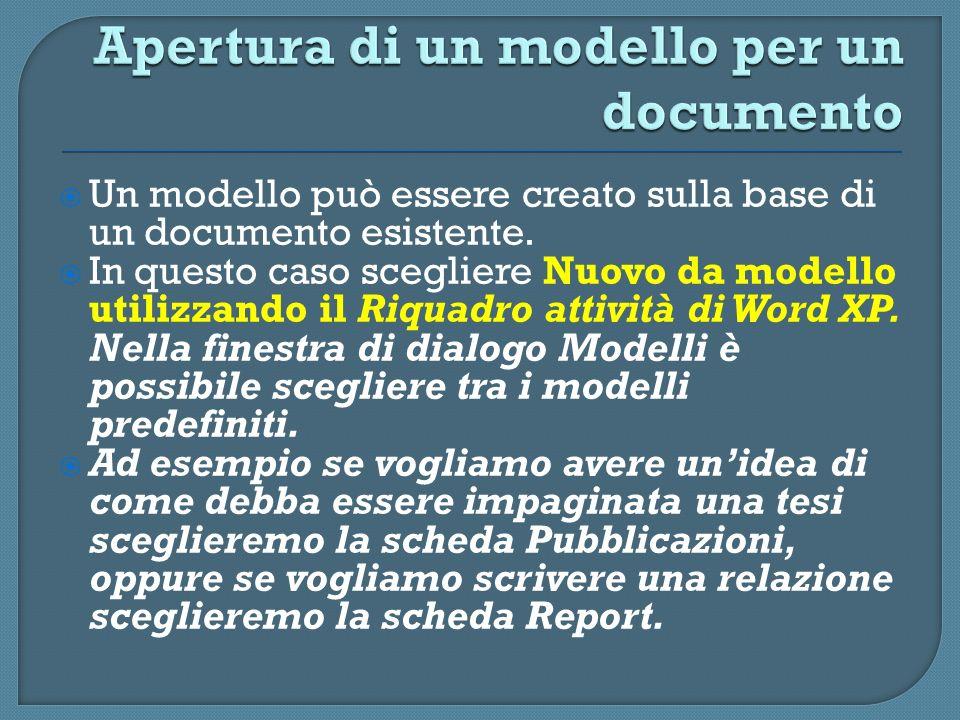 Un modello può essere creato sulla base di un documento esistente. In questo caso scegliere Nuovo da modello utilizzando il Riquadro attività di Word