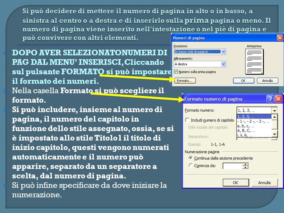 DOPO AVER SELEZIONATONUMERI DI PAG DAL MENU INSERISCI,Cliccando sul pulsante FORMATO si può impostare il formato dei numeri. Nella casella Formato si