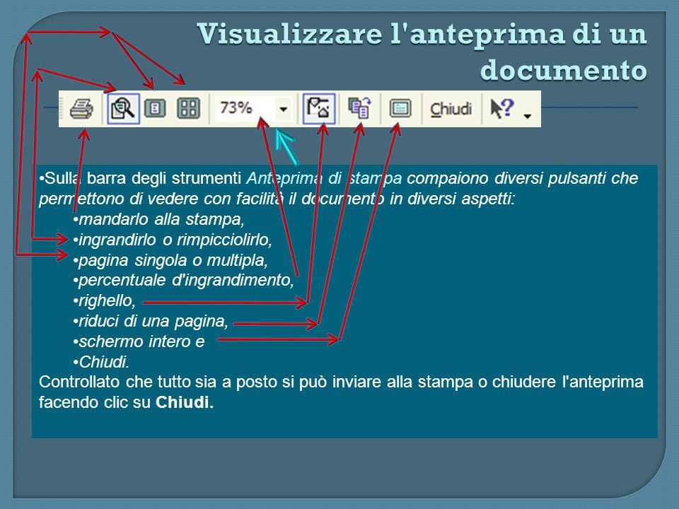 Per controllare ciò che verrà stampato è quello di attivare l'anteprima di stampa. Per far ciò, selezionate Anteprima di stampa dal menu File oppure f