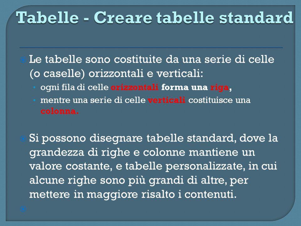 Le tabelle sono costituite da una serie di celle (o caselle) orizzontali e verticali: ogni fila di celle orizzontali forma una riga, mentre una serie