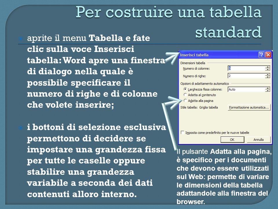 aprite il menu Tabella e fate clic sulla voce Inserisci tabella: Word apre una finestra di dialogo nella quale è possibile specificare il numero di ri