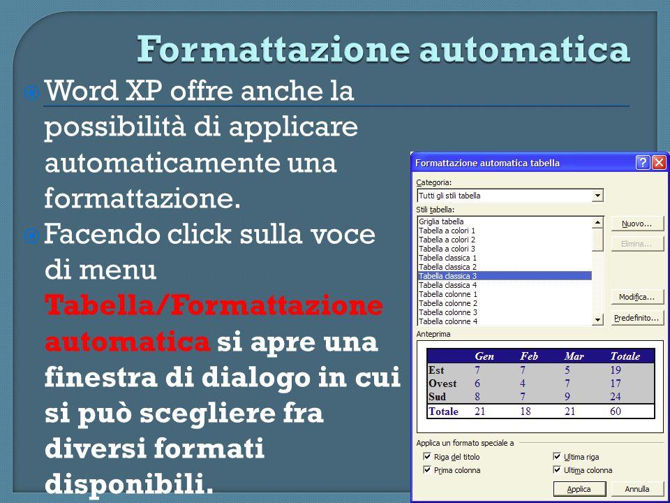 Word XP offre anche la possibilità di applicare automaticamente una formattazione. Facendo click sulla voce di menu Tabella/Formattazione automatica s
