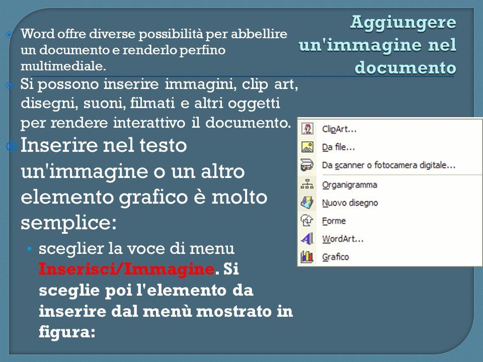 Word offre diverse possibilità per abbellire un documento e renderlo perfino multimediale. Si possono inserire immagini, clip art, disegni, suoni, fil