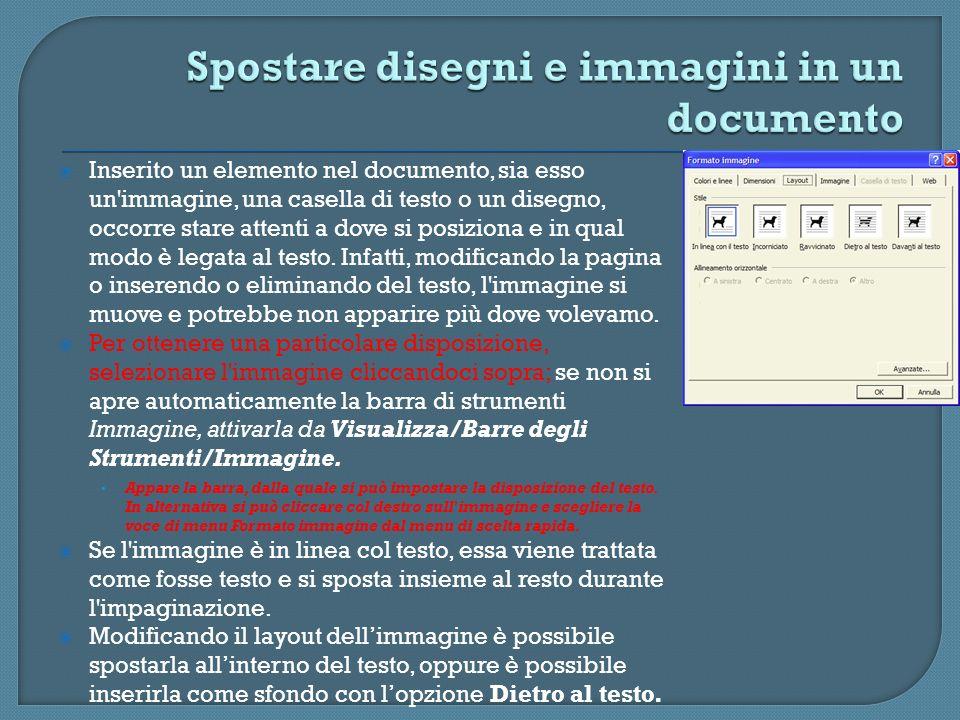 Inserito un elemento nel documento, sia esso un'immagine, una casella di testo o un disegno, occorre stare attenti a dove si posiziona e in qual modo