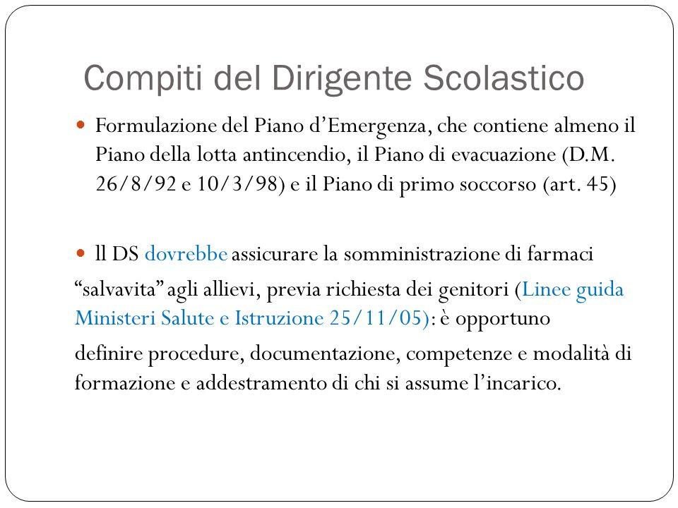 Compiti del Dirigente Scolastico Formulazione del Piano dEmergenza, che contiene almeno il Piano della lotta antincendio, il Piano di evacuazione (D.M.