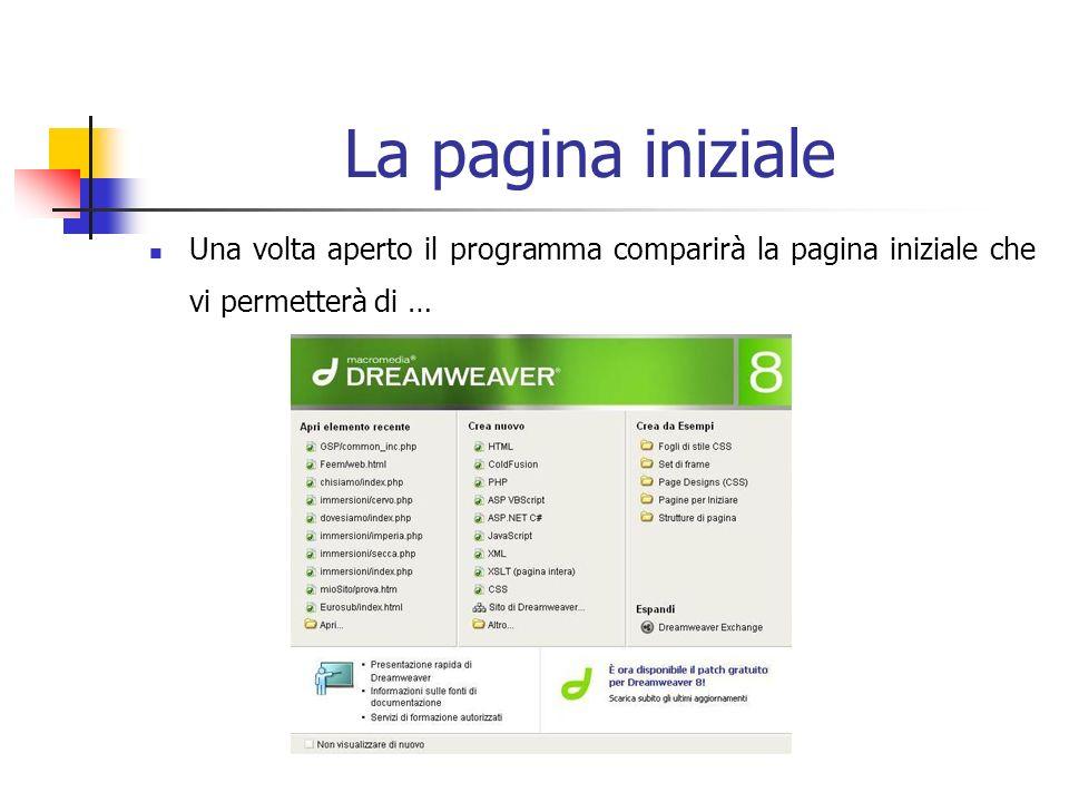 La pagina iniziale Una volta aperto il programma comparirà la pagina iniziale che vi permetterà di …