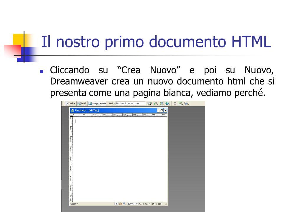 Il nostro primo documento HTML Cliccando su Crea Nuovo e poi su Nuovo, Dreamweaver crea un nuovo documento html che si presenta come una pagina bianca, vediamo perché.