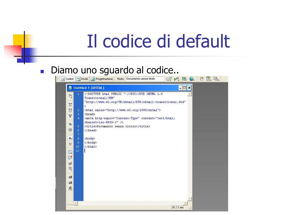 Il codice di default Diamo uno sguardo al codice..