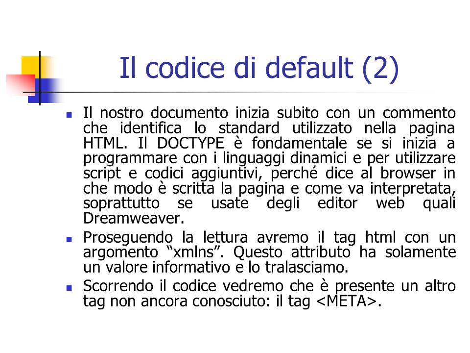 Il codice di default (2) Il nostro documento inizia subito con un commento che identifica lo standard utilizzato nella pagina HTML.