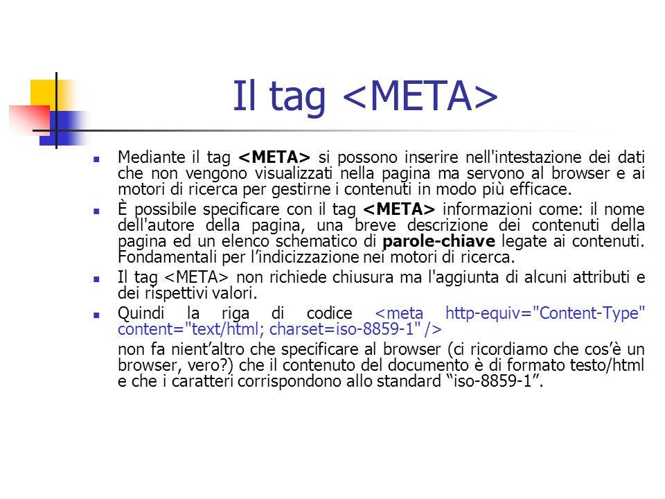 Il tag Mediante il tag si possono inserire nell intestazione dei dati che non vengono visualizzati nella pagina ma servono al browser e ai motori di ricerca per gestirne i contenuti in modo più efficace.