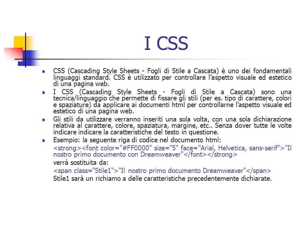 I CSS CSS (Cascading Style Sheets - Fogli di Stile a Cascata) è uno dei fondamentali linguaggi standard.