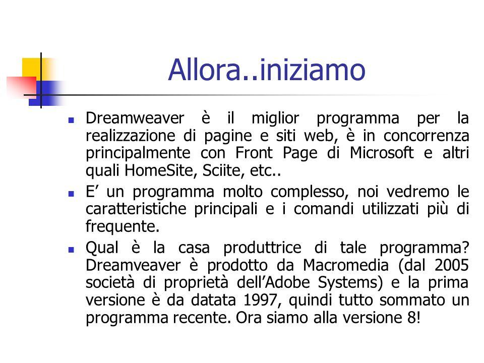 Allora..iniziamo Dreamweaver è il miglior programma per la realizzazione di pagine e siti web, è in concorrenza principalmente con Front Page di Microsoft e altri quali HomeSite, Sciite, etc..