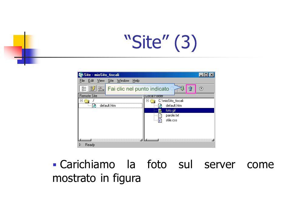 Site (3) Carichiamo la foto sul server come mostrato in figura