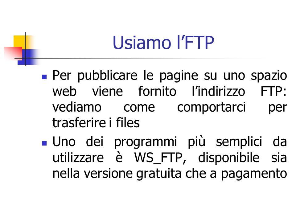 Usiamo lFTP Per pubblicare le pagine su uno spazio web viene fornito lindirizzo FTP: vediamo come comportarci per trasferire i files Uno dei programmi più semplici da utilizzare è WS_FTP, disponibile sia nella versione gratuita che a pagamento