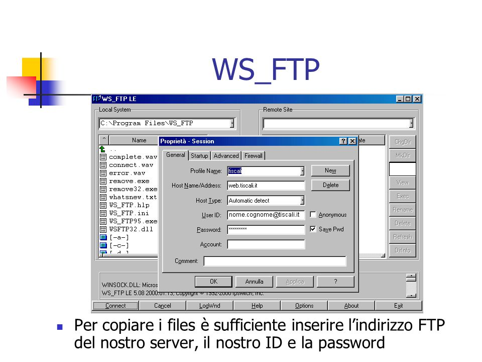 WS_FTP Per copiare i files è sufficiente inserire lindirizzo FTP del nostro server, il nostro ID e la password