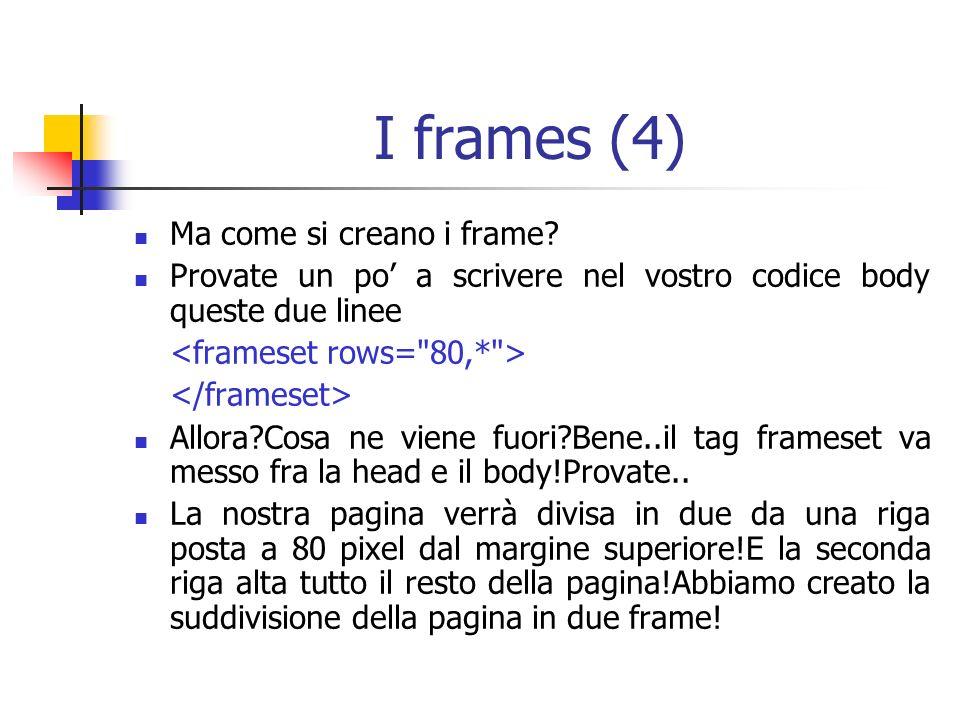 I frames (4) Ma come si creano i frame.