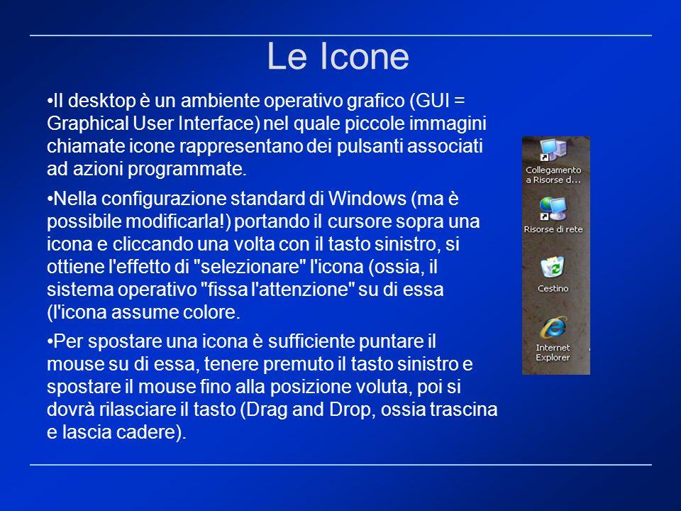 Le Icone Il desktop è un ambiente operativo grafico (GUI = Graphical User Interface) nel quale piccole immagini chiamate icone rappresentano dei pulsa
