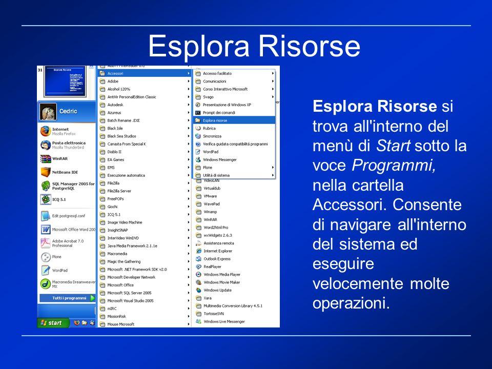 Esplora Risorse si trova all'interno del menù di Start sotto la voce Programmi, nella cartella Accessori. Consente di navigare all'interno del sistema