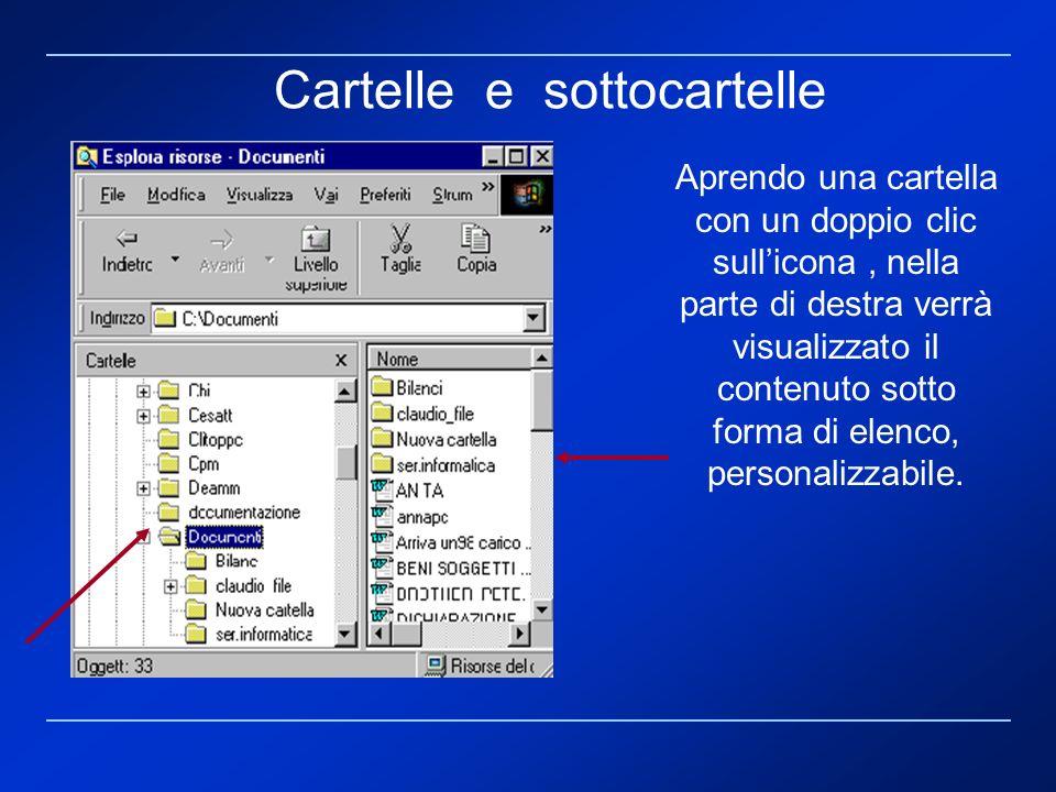Aprendo una cartella con un doppio clic sullicona, nella parte di destra verrà visualizzato il contenuto sotto forma di elenco, personalizzabile. Cart