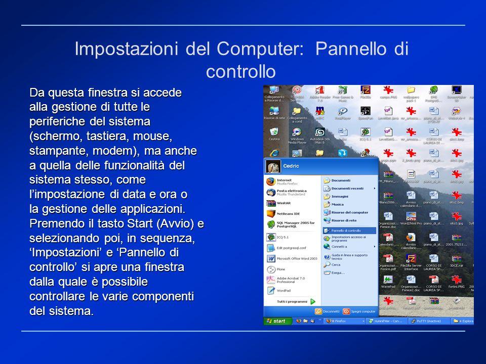 Da questa finestra si accede alla gestione di tutte le periferiche del sistema (schermo, tastiera, mouse, stampante, modem), ma anche a quella delle f