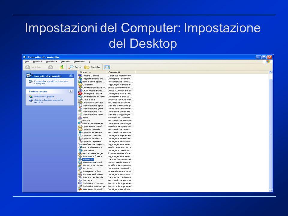 Impostazioni del Computer: Impostazione del Desktop