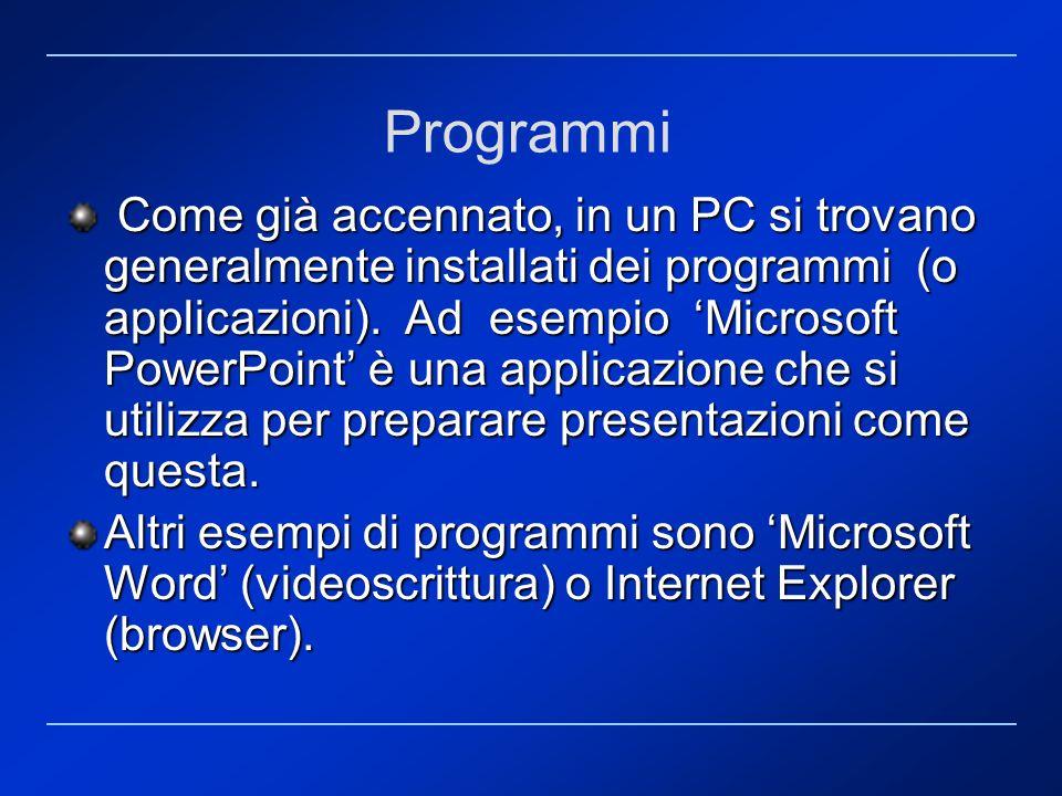 Programmi Come già accennato, in un PC si trovano generalmente installati dei programmi (o applicazioni). Ad esempio Microsoft PowerPoint è una applic