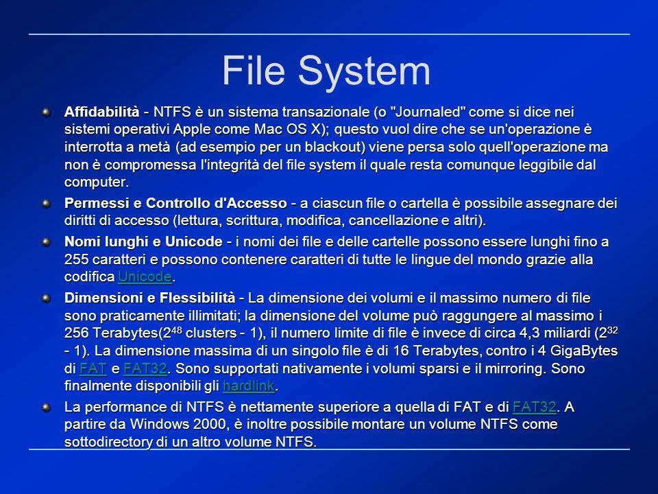 File System Affidabilità - NTFS è un sistema transazionale (o