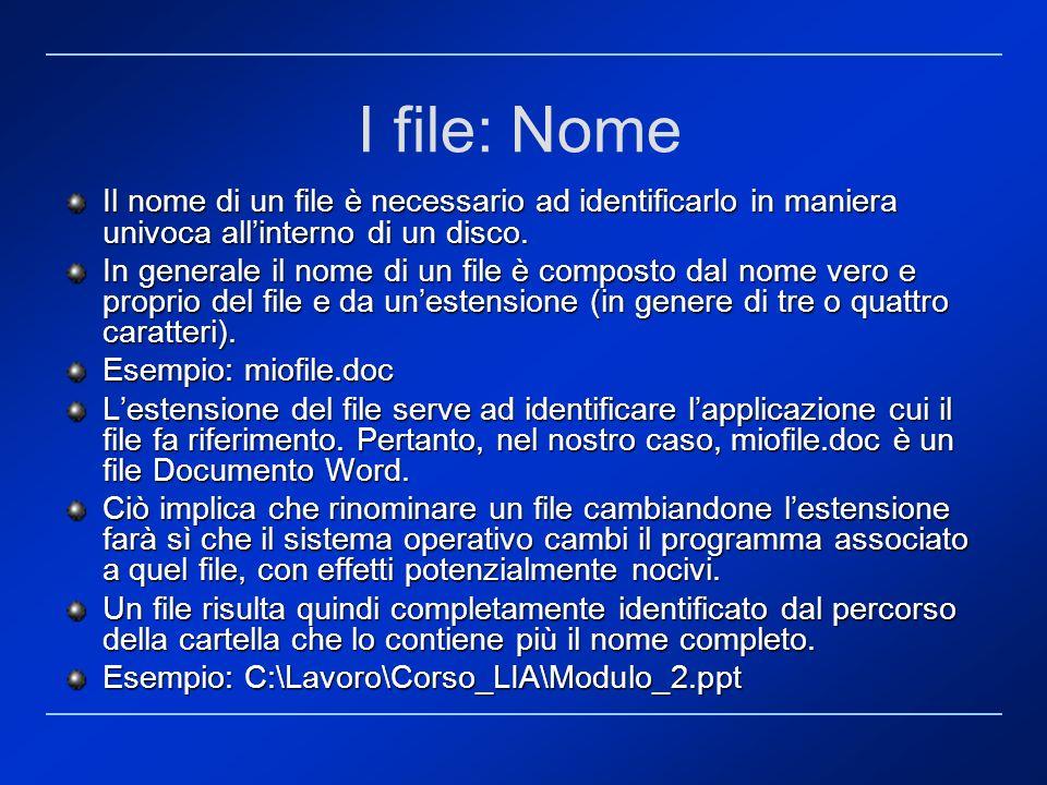 I file: Nome Il nome di un file è necessario ad identificarlo in maniera univoca allinterno di un disco. In generale il nome di un file è composto dal