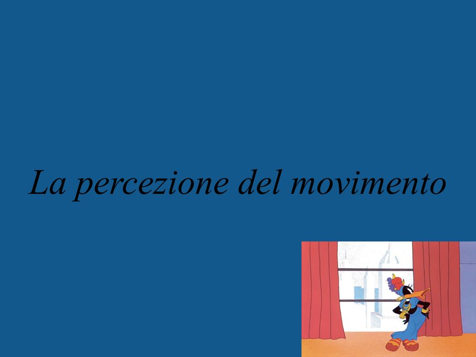 Motion Perception Elaborazione computazionali per la percezione del movimento di stimoli visivi I movimenti degli occhi Usare le informazioni di moto Luomo che non poteva vedere il movimento