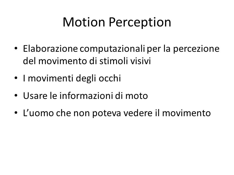 Computation of Visual Motion (contd) Da esperimenti sulle scimmie (Newsome and Pare, 1988) – Utilizzavano scimmie addestrate a percepire il movimento di punti correlati – Le aree MT delle scimmie venivano lesionate – Risultati: Le scimmie necessitavano di un livello di segnale (in termini di robustezza del movimento in una direzione dei pallini) 10 volte più alto rispetto a prima