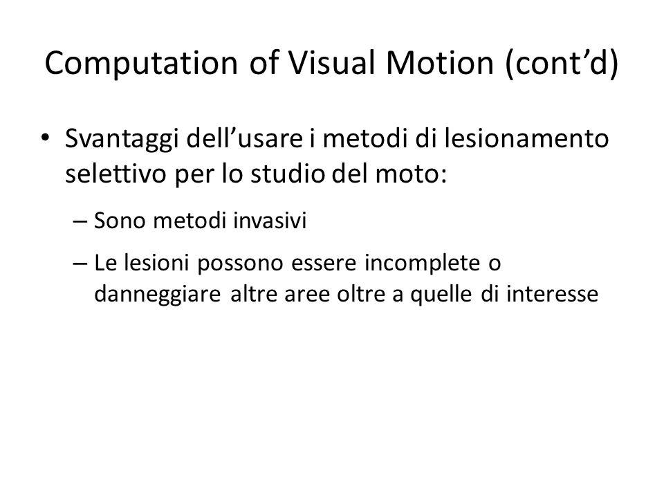 Computation of Visual Motion (contd) Svantaggi dellusare i metodi di lesionamento selettivo per lo studio del moto: – Sono metodi invasivi – Le lesion