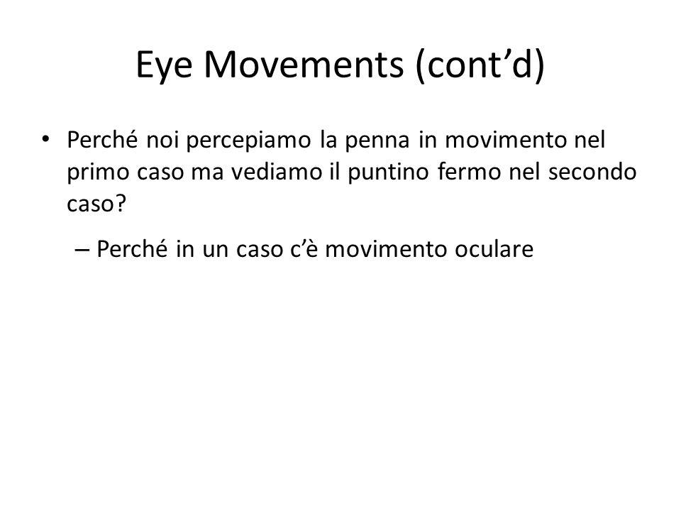 Eye Movements (contd) Perché noi percepiamo la penna in movimento nel primo caso ma vediamo il puntino fermo nel secondo caso? – Perché in un caso cè