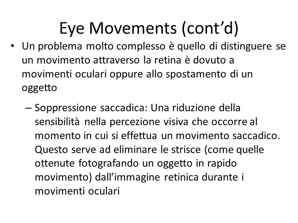 Eye Movements (contd) Un problema molto complesso è quello di distinguere se un movimento attraverso la retina è dovuto a movimenti oculari oppure all