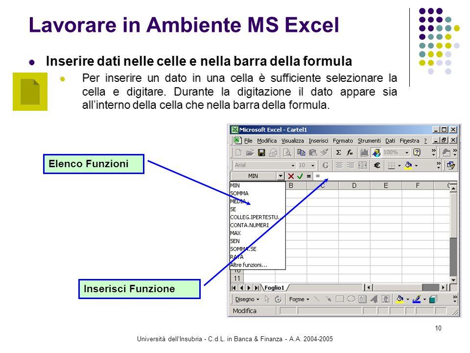 Università dell'Insubria - C.d.L. in Banca & Finanza - A.A. 2004-2005 10 Lavorare in Ambiente MS Excel Inserire dati nelle celle e nella barra della f
