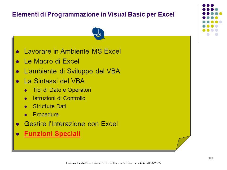 Università dell'Insubria - C.d.L. in Banca & Finanza - A.A. 2004-2005 101 Lavorare in Ambiente MS Excel Le Macro di Excel Lambiente di Sviluppo del VB