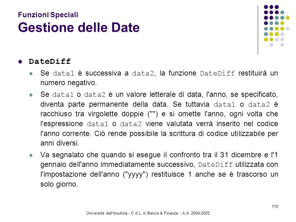 Università dell'Insubria - C.d.L. in Banca & Finanza - A.A. 2004-2005 110 Funzioni Speciali Gestione delle Date DateDiff Se data1 è successiva a data2