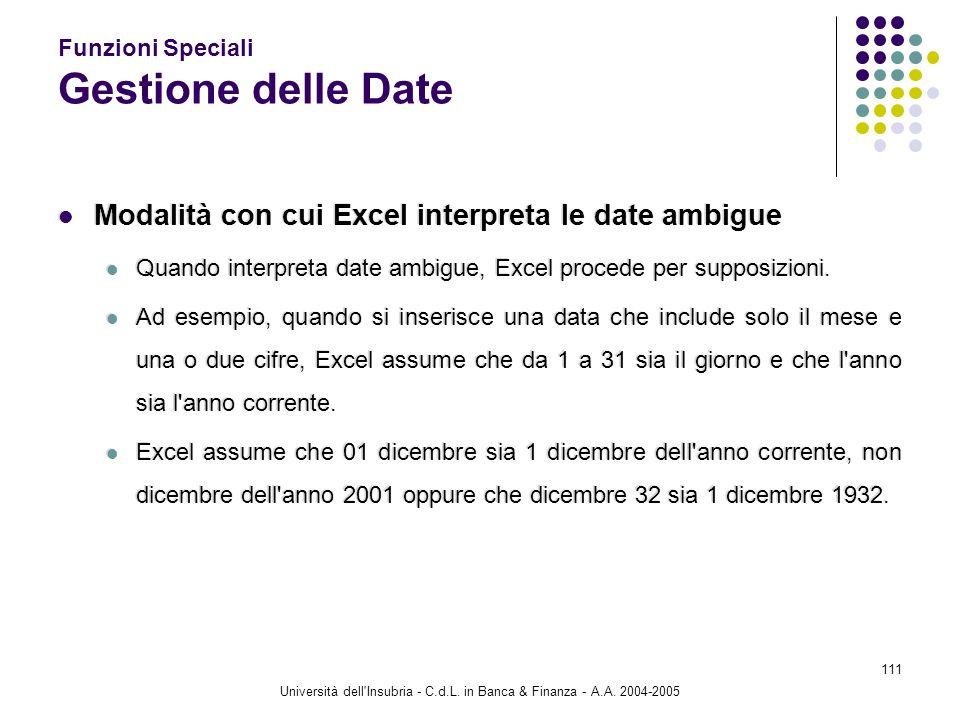Università dell'Insubria - C.d.L. in Banca & Finanza - A.A. 2004-2005 111 Funzioni Speciali Gestione delle Date Modalità con cui Excel interpreta le d
