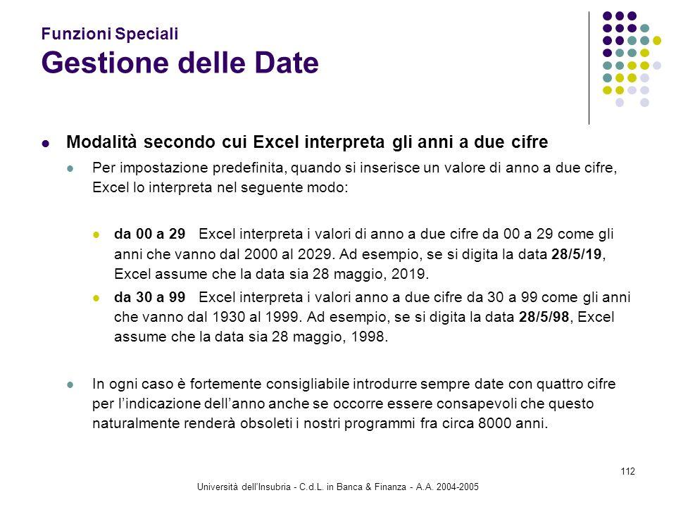 Università dell'Insubria - C.d.L. in Banca & Finanza - A.A. 2004-2005 112 Funzioni Speciali Gestione delle Date Modalità secondo cui Excel interpreta