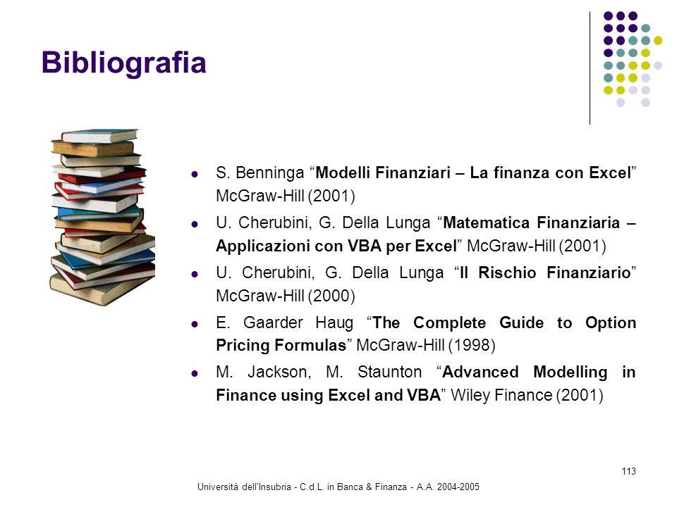 Università dell'Insubria - C.d.L. in Banca & Finanza - A.A. 2004-2005 113 Bibliografia S. Benninga Modelli Finanziari – La finanza con Excel McGraw-Hi