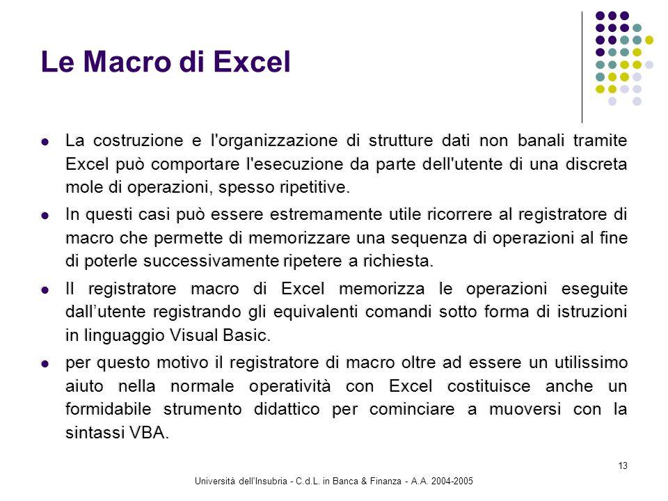 Università dell'Insubria - C.d.L. in Banca & Finanza - A.A. 2004-2005 13 Le Macro di Excel La costruzione e l'organizzazione di strutture dati non ban