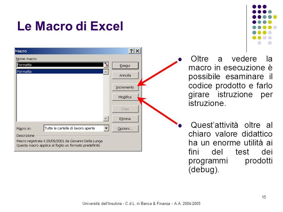 Università dell'Insubria - C.d.L. in Banca & Finanza - A.A. 2004-2005 15 Le Macro di Excel Oltre a vedere la macro in esecuzione è possibile esaminare
